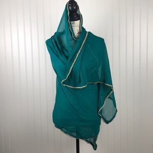 Accessories - Turquoise Indian Saree/Sheer Scarf or Wrap w/Gold